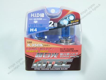 Pack 2 ampoules H4 Effet Xénon - Mtec - Super White 100W