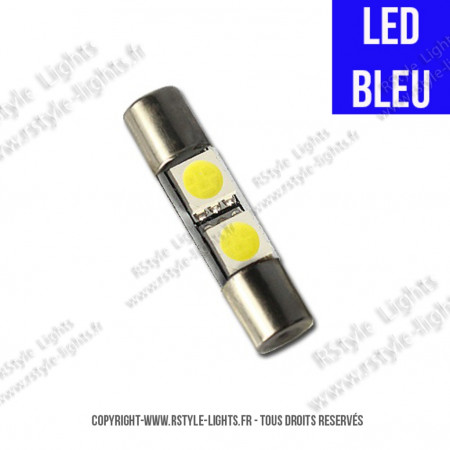 Ampoule Led BLEU - Navette type Fusible 28mm