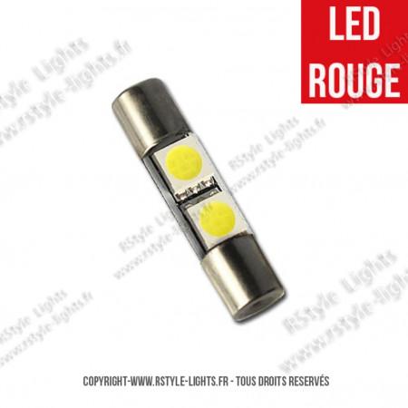 Ampoule Led ROUGE - Navette type Fusible 28mm
