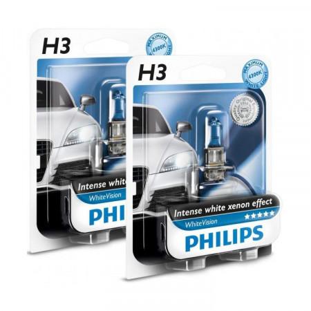 Ampoules H3 Philips WhiteVision blanche blanc xénon, pour feux phares auto,voiture