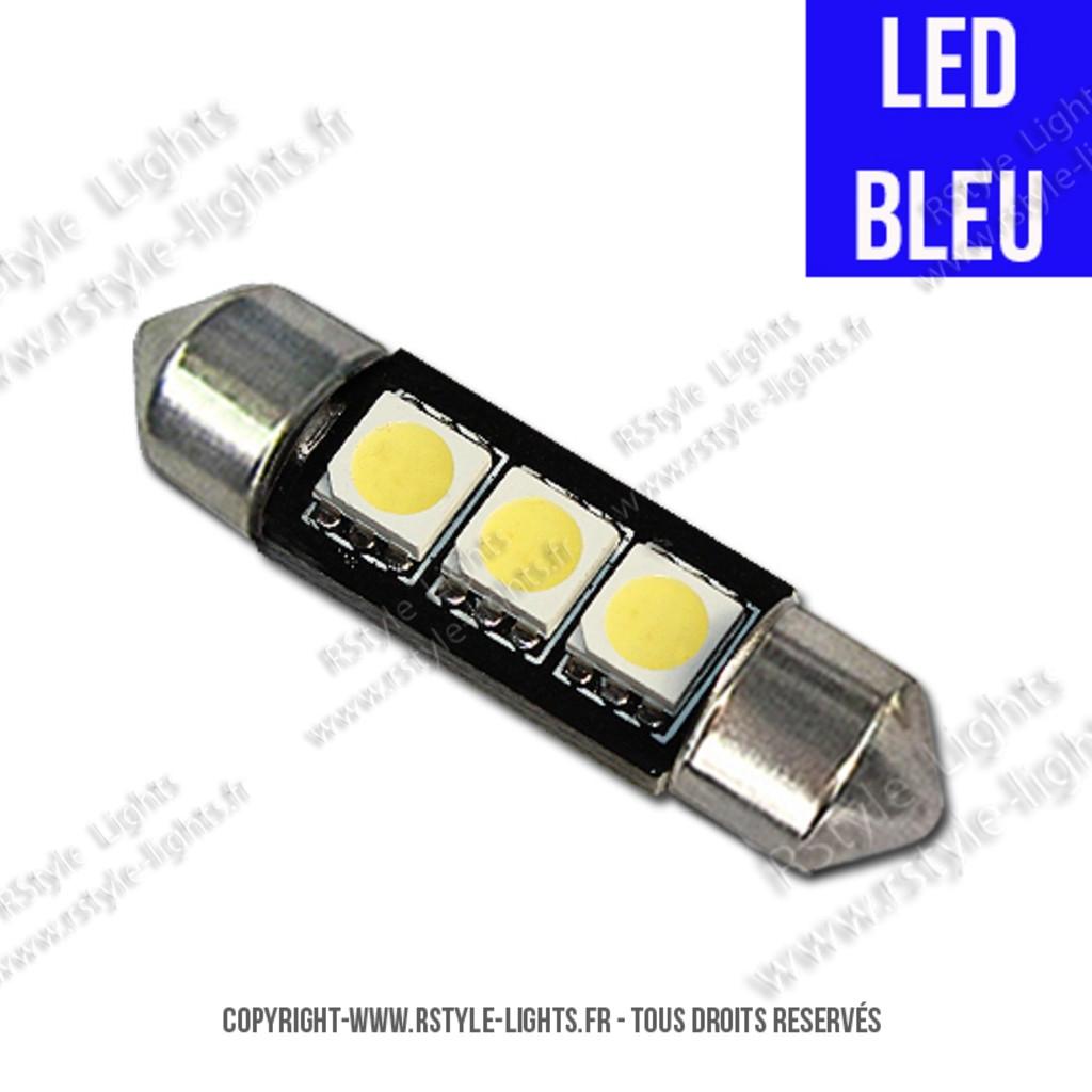 led bleu navette c7w 38mm 39mm ampoule led voiture auto festoon soffite. Black Bedroom Furniture Sets. Home Design Ideas