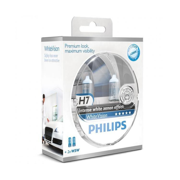 ampoule feux phares voiture blanc x non h7 philips white vision. Black Bedroom Furniture Sets. Home Design Ideas