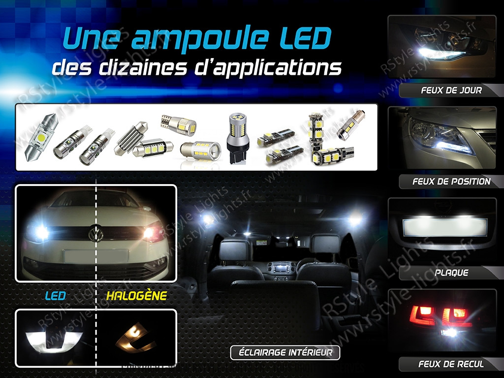 led w1 2w w2 3w t5 ampoule led voiture auto. Black Bedroom Furniture Sets. Home Design Ideas