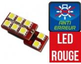 Ampoule Led ROUGE W5W - One Face 8 Led - Spécial VAG
