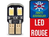Ampoule Led ROUGE W5W - Dual Face 4 - Anti-erreur ODB