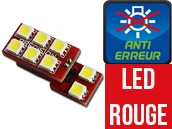 Ampoule Led ROUGE W5W - One Face 8 Led - Spécial VAG