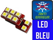 Ampoule Led BLEU W5W - One Face 8 Led - Spécial VAG