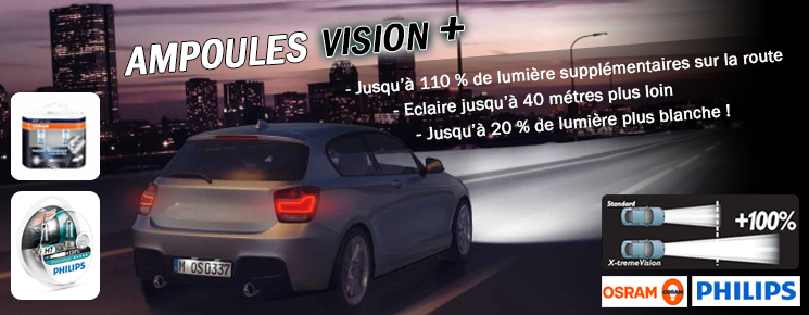 Ampoules Philips X-treme Vision, Osram Night Breaker H7 auto moto voiiture