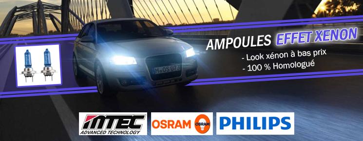 Ampoules effet xenon h1 h3 h7 h8 h11 hb3, pour auto moto voiture, Osram Philips